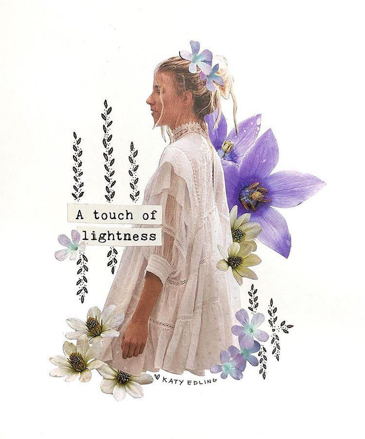 A Touch of Lightness Flower Collage by Katy Edling