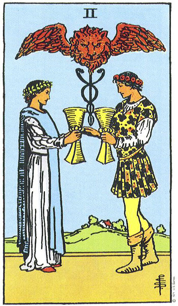 The Two of Cups is all about soulmate relationships. The caduceus is symbolic for Archangel Raphael, the Archangel of soulmates.