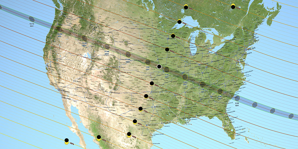"All 48 internal U.S. states will be able to see at least a partial eclipse on August 21st. The ""path of totality"" is over 70-miles wide, and only a day trip for many Americans."