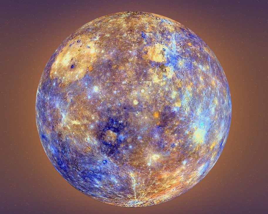 Mercury is not this colorful in real life. This is a color-enhanced image to show the different chemicals that are on the surface.