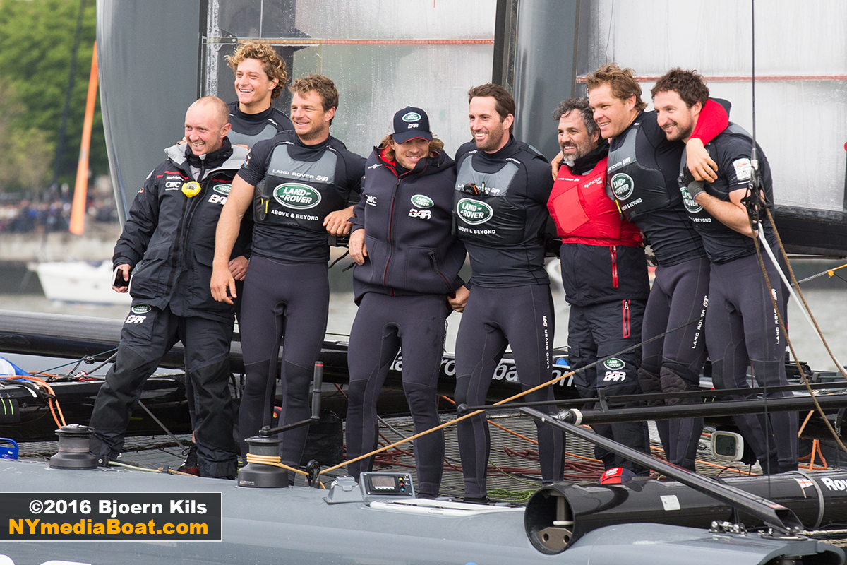 Land Rover Team Great Britain poses for the media boat cameras.