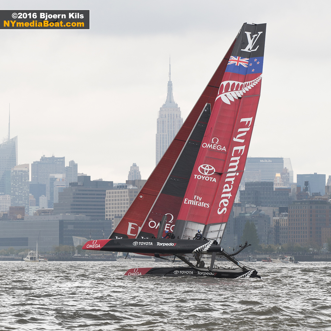 Emirates Team New Zealand finds some wind upriver.