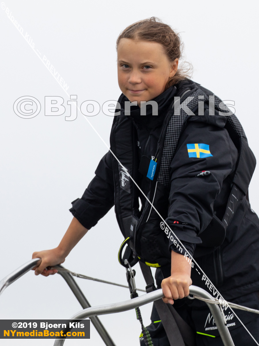 Greta Thunberg at the bow of Malizia II