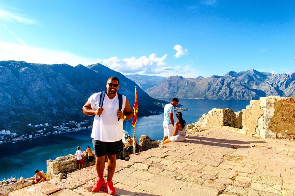 Standing at the  Castle of San Giovanni in Kotor, Montenegro