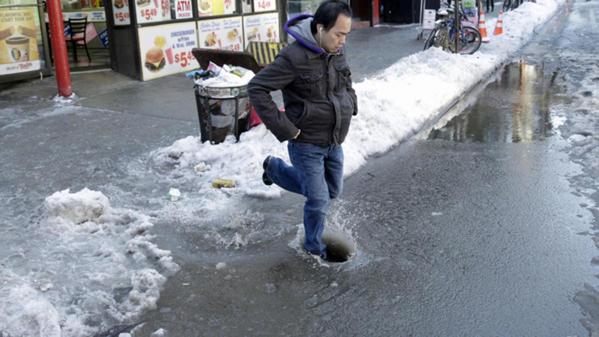 Beware of slush puddles in New York City