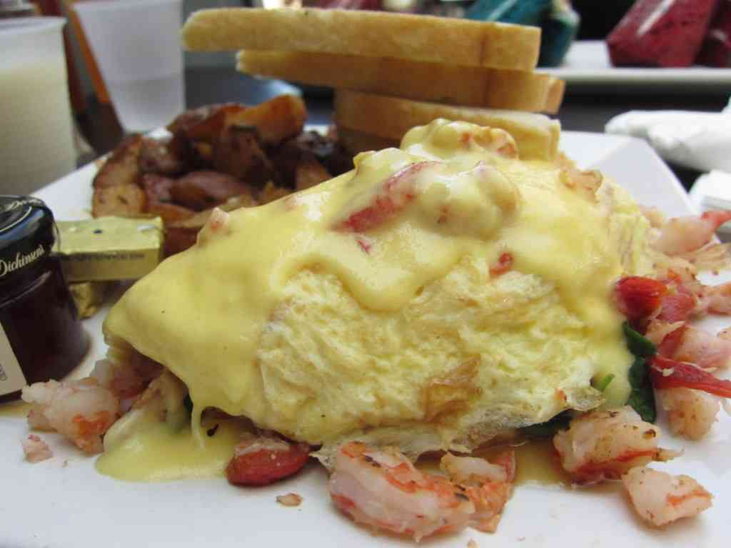 The delicious seafood omelette from Larchmont Bungalow