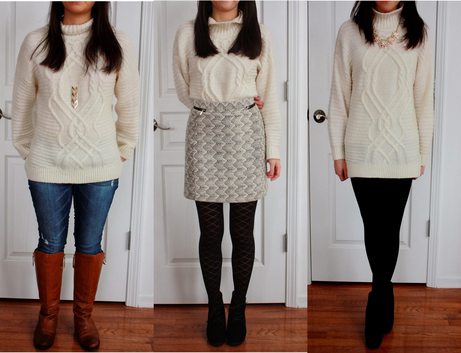 One sweater, worn three different ways.  Great way to save room packing