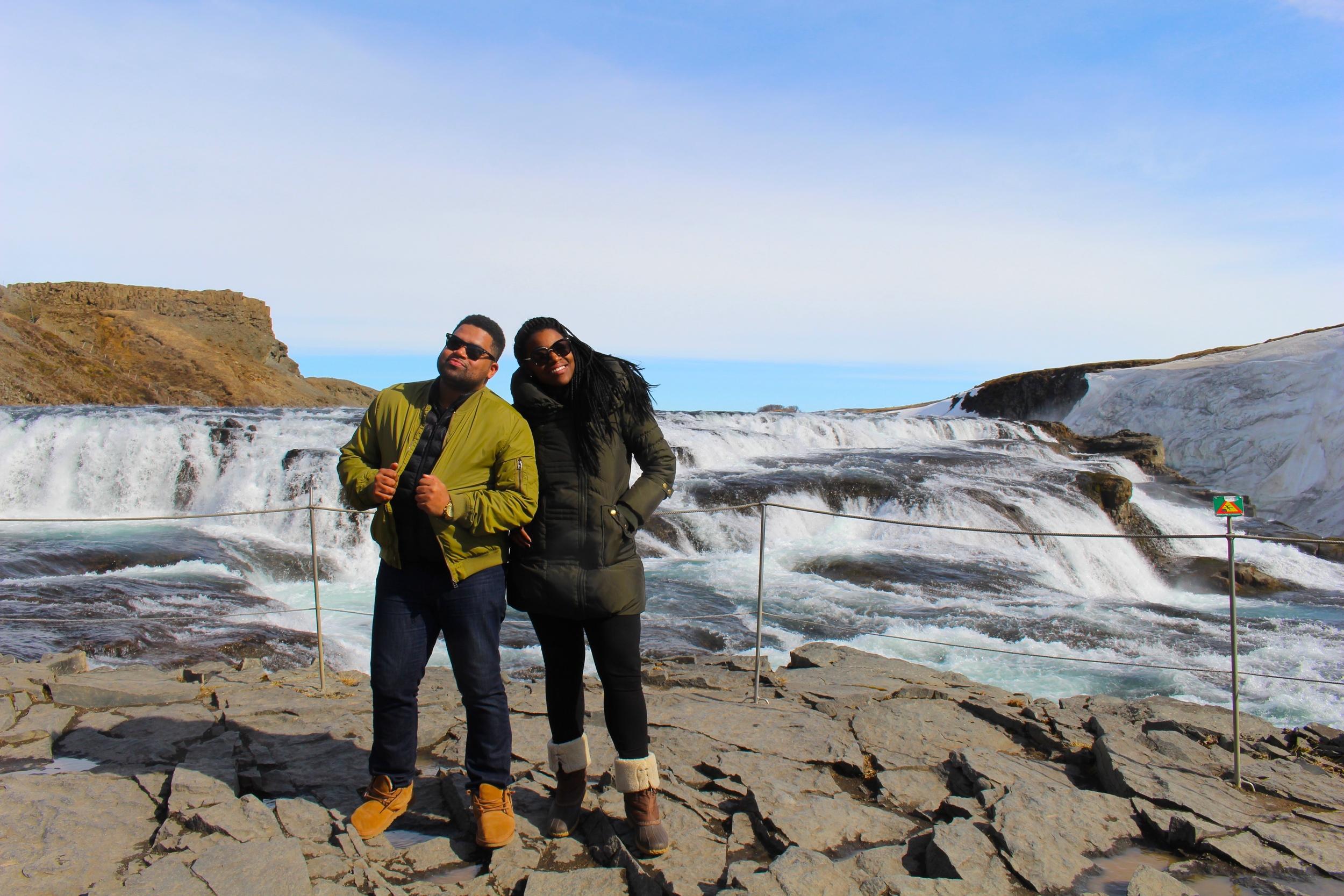 Hometown friends, Jasmine Muhammad and Gary Bushrod starting off an amazing Icelandic vacation at the Golden Waterfalls.