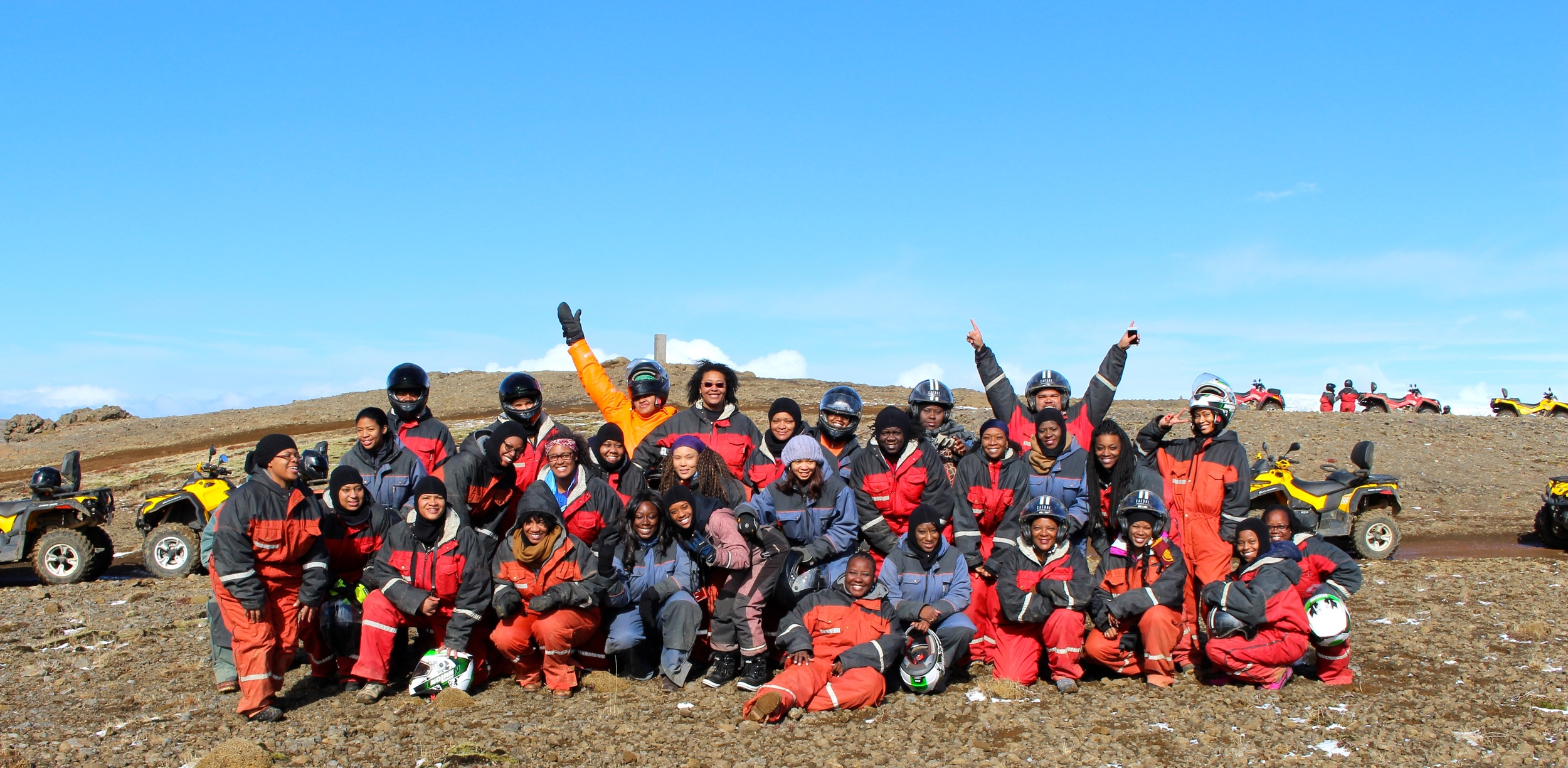 The group photo at the top of the mountain during the ATV mountain safari.