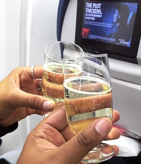 Champagne, compliments of the Delta flight attendants.