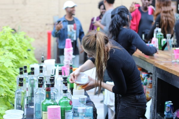 The drinks were free and flowing at the Insecure block party.