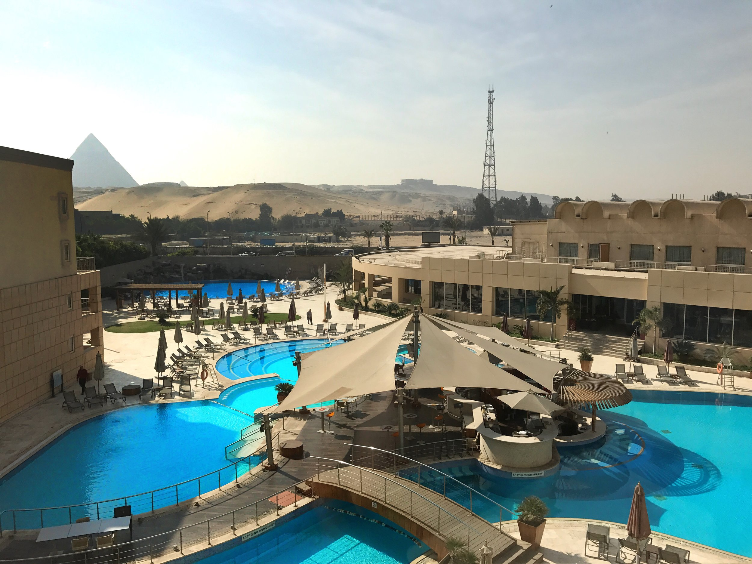 The view from my room at Le Meridien Pyramids Hotel