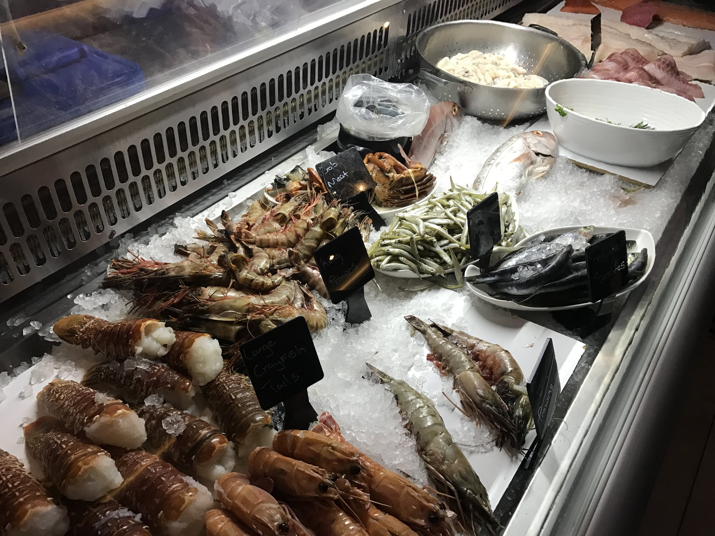Fresh fish display at Codfather in Johannesburg