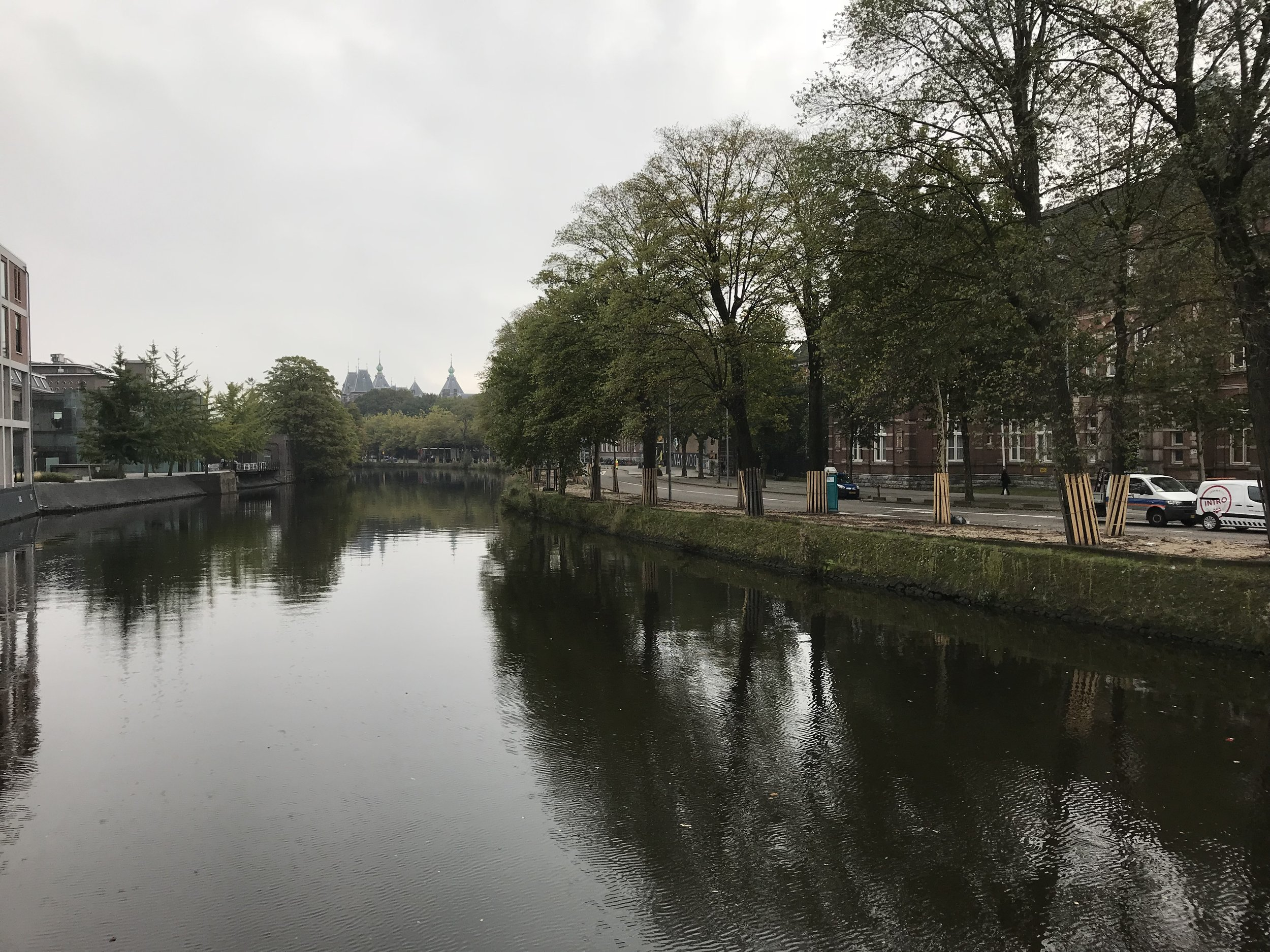 Amsterdam has small canals running throughout the entire city.