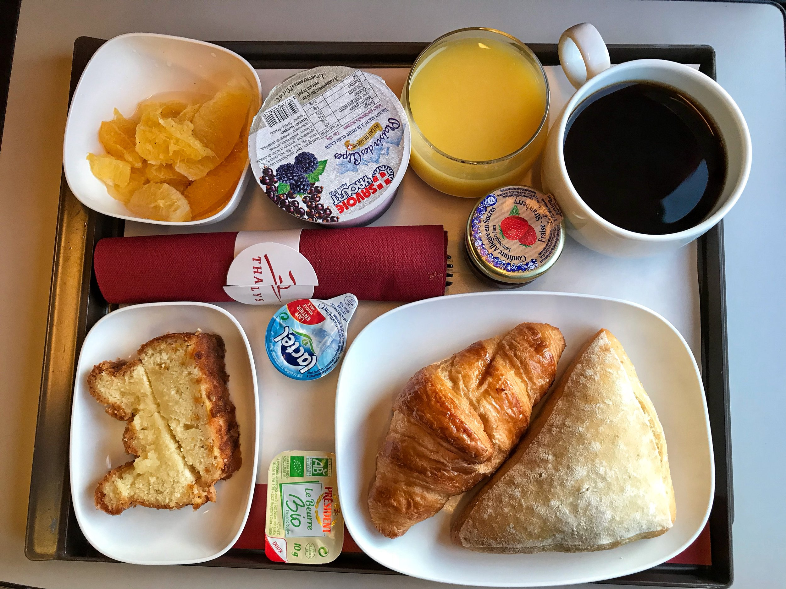 One of the meals served to First class Thalys customers.