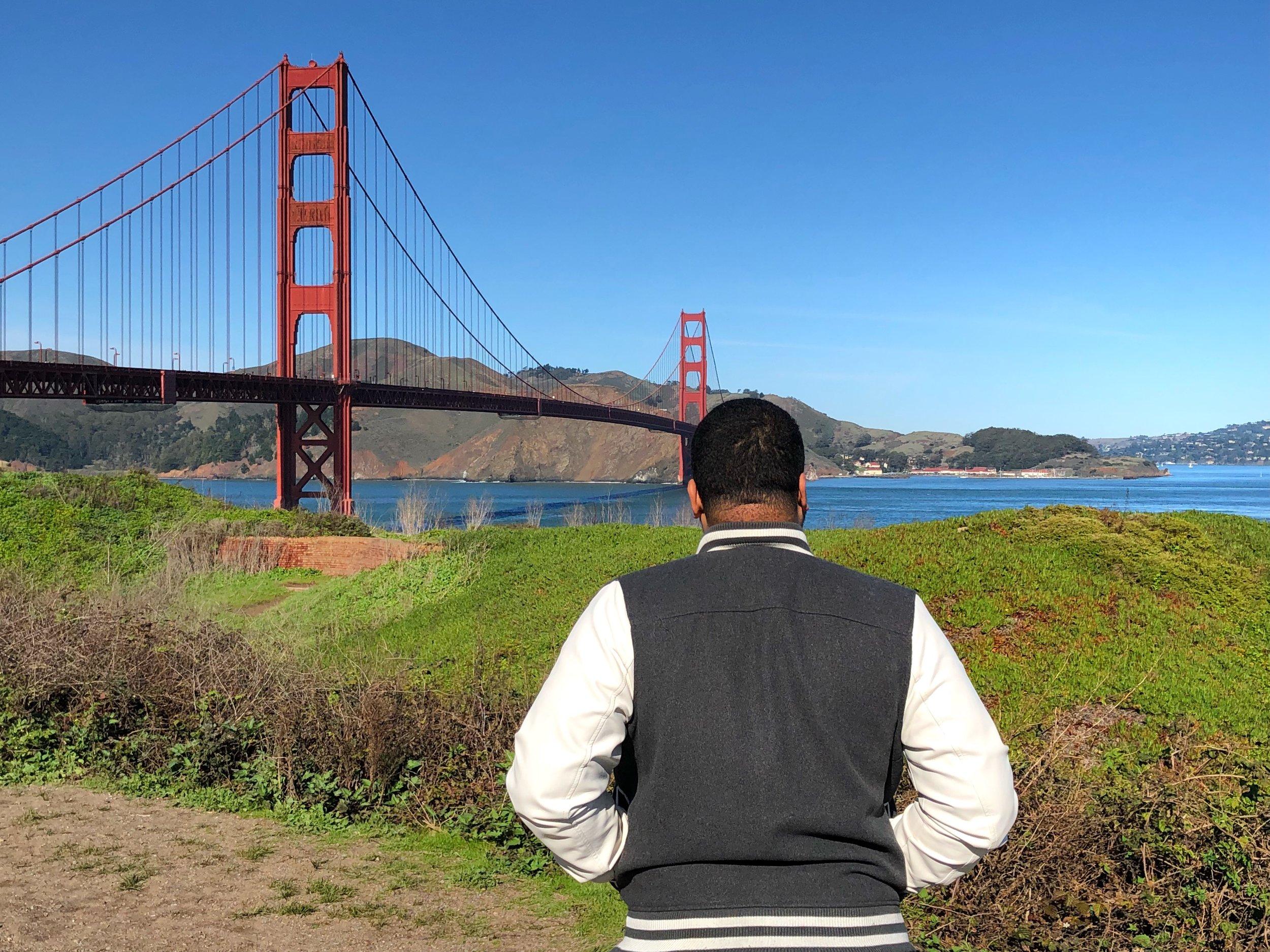 The famous Golden Gate Bridge, located in San Francisco, CA