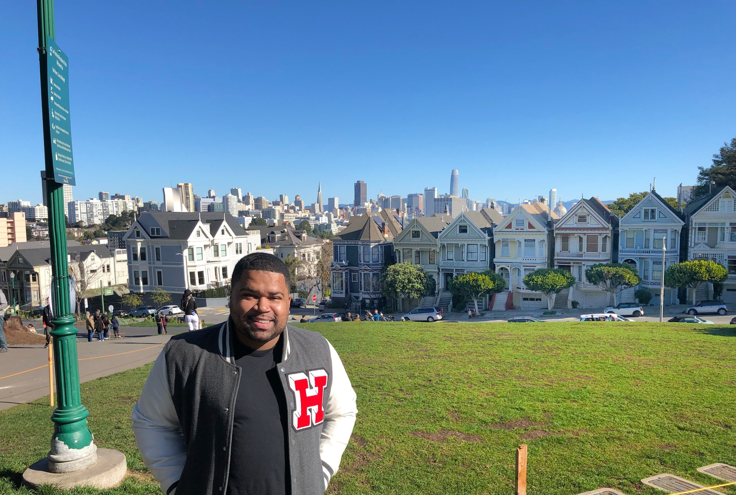 In front of the Painted Ladies, made famous by the opening credits for 'Full House.""