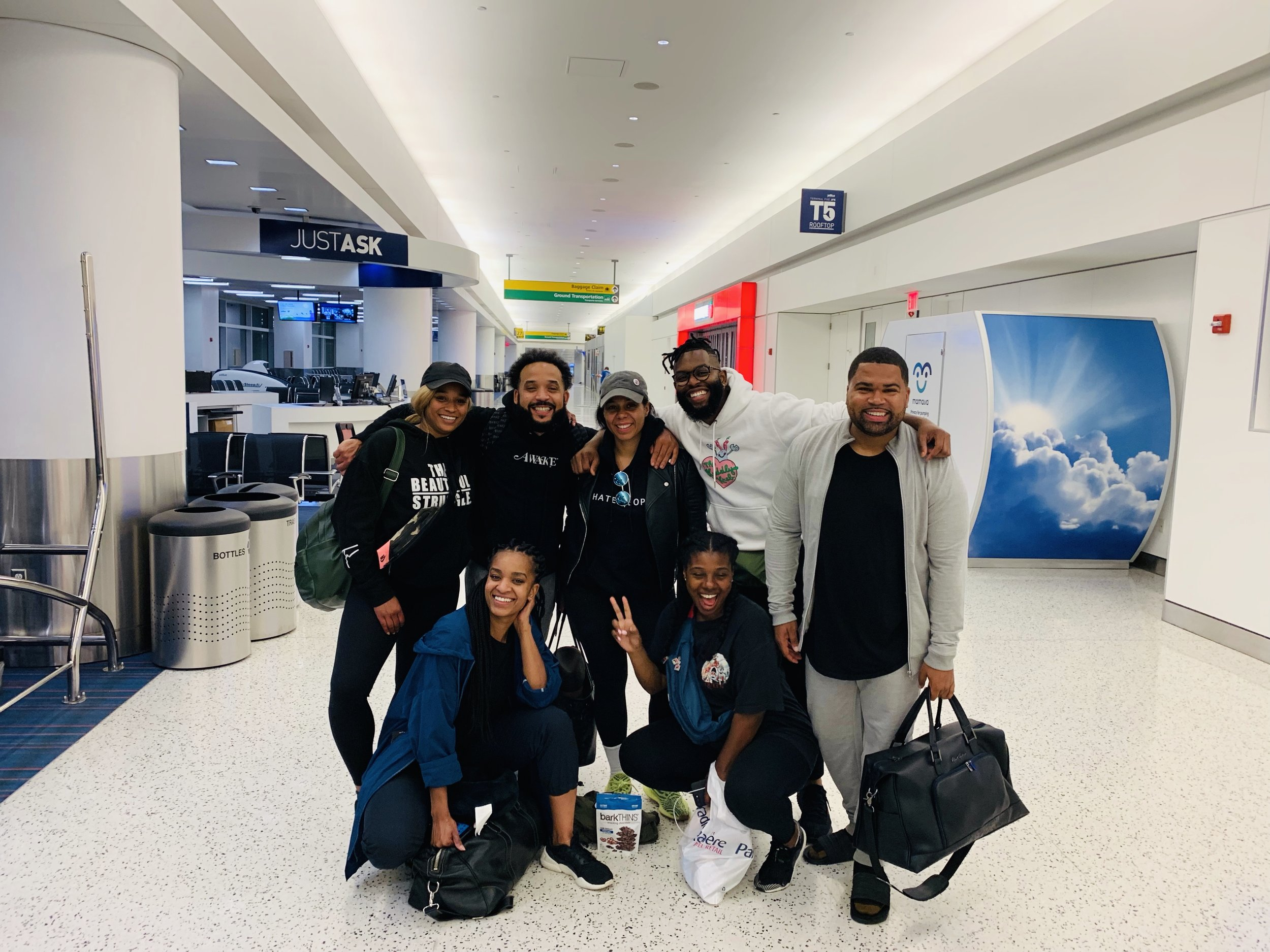 The group about to take off to Barcelona on a red eye flight from JFK.