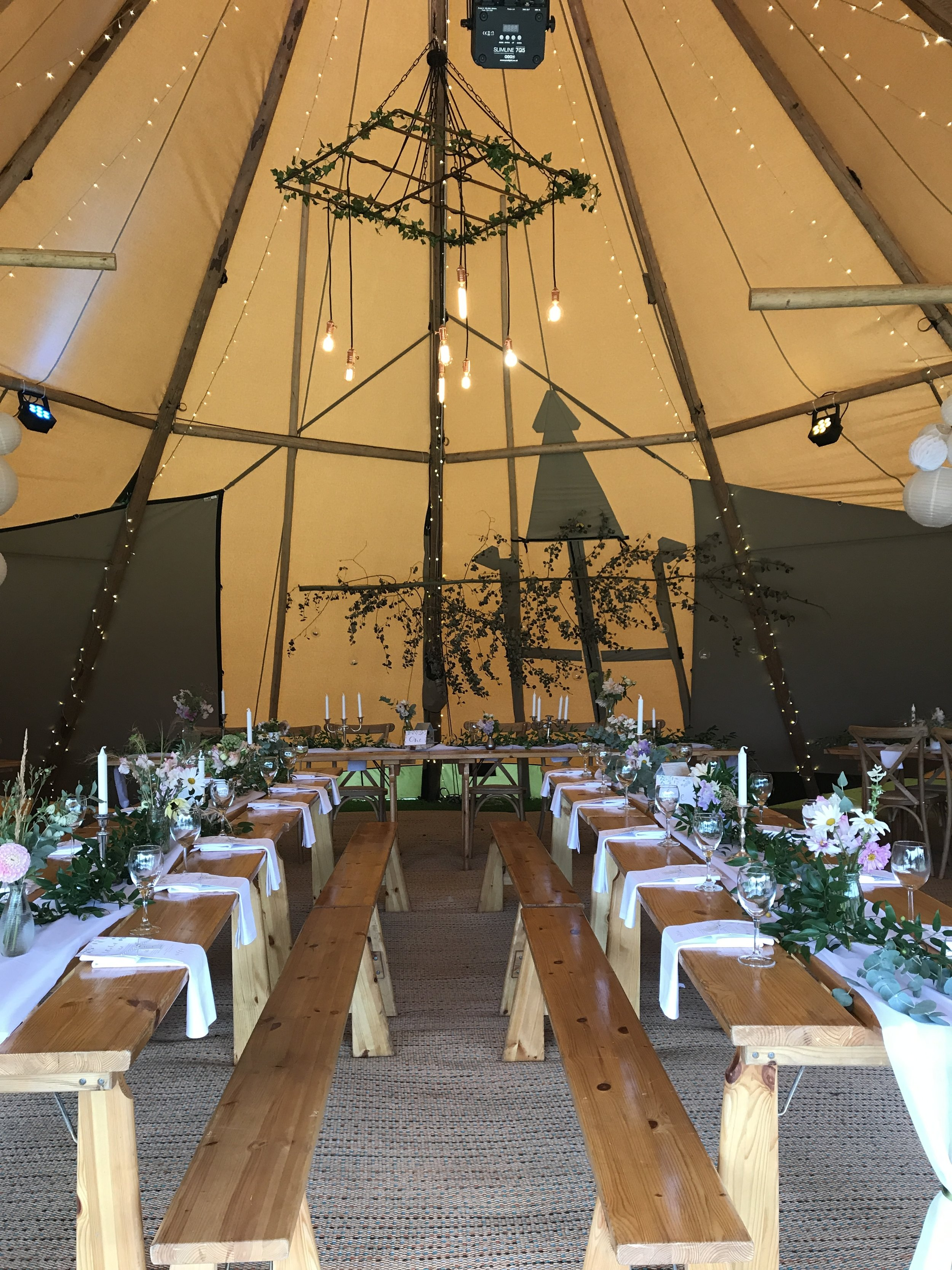 Tipi Wedding decorating