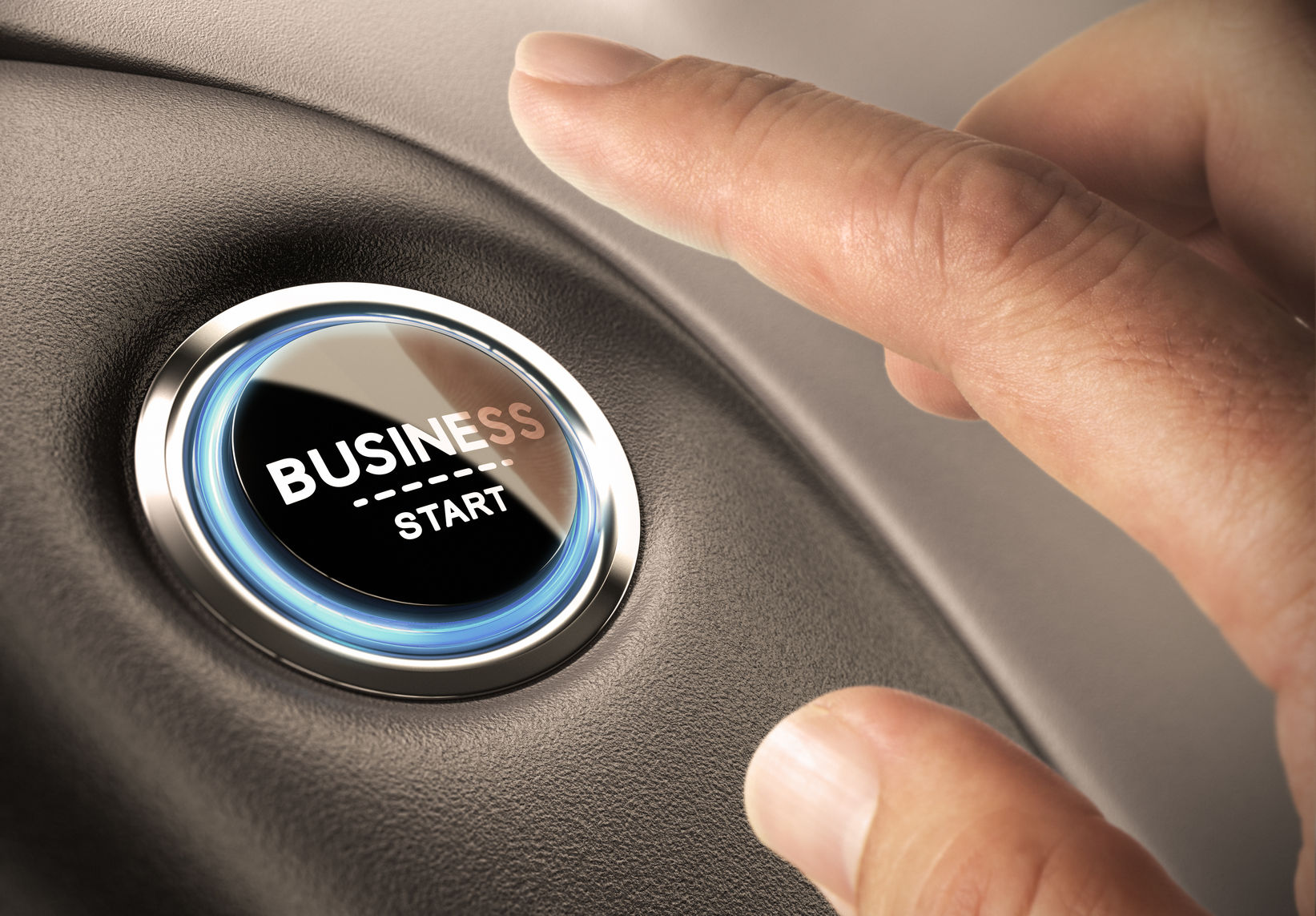 40915477 - finger pressing business button. blue and black tones. start up concept.