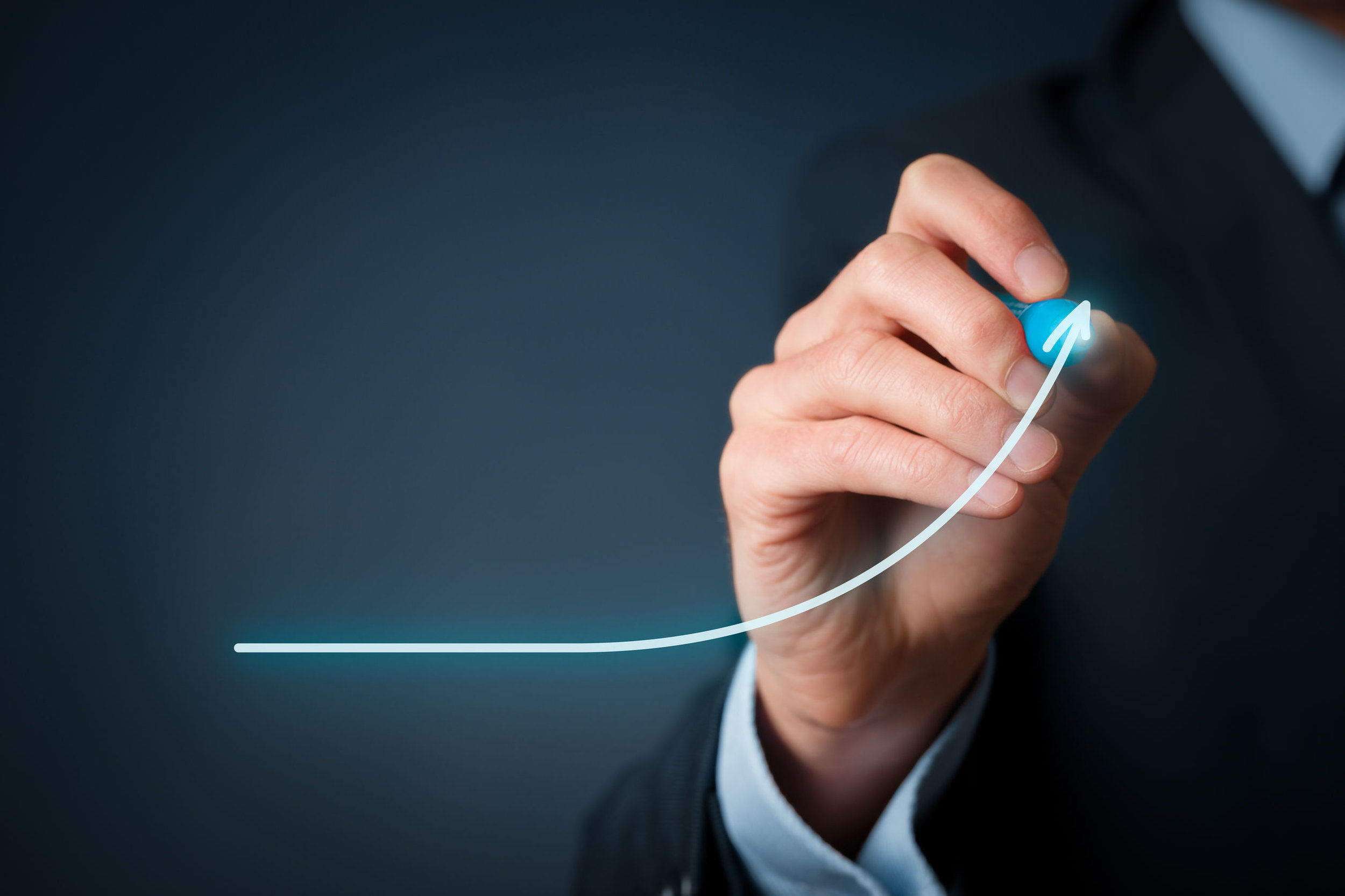 44632671 - development and growth concept. businessman plan growth and increase of positive indicators in his business.