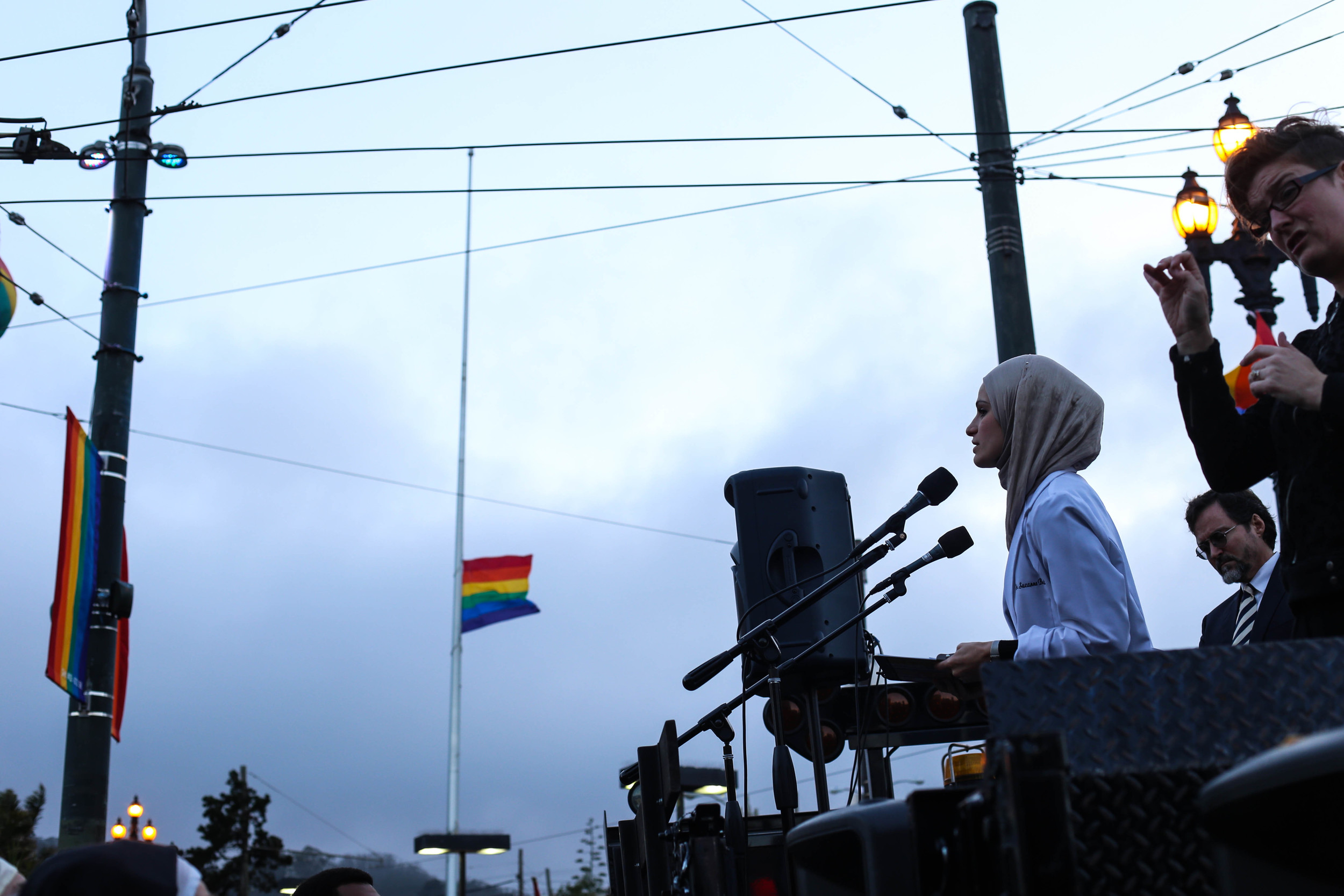 Suzanne Barakat speaks as hundreds gather  during a vigil in Harvey Milk Plaza to remember the victims of the Orlando shooting.