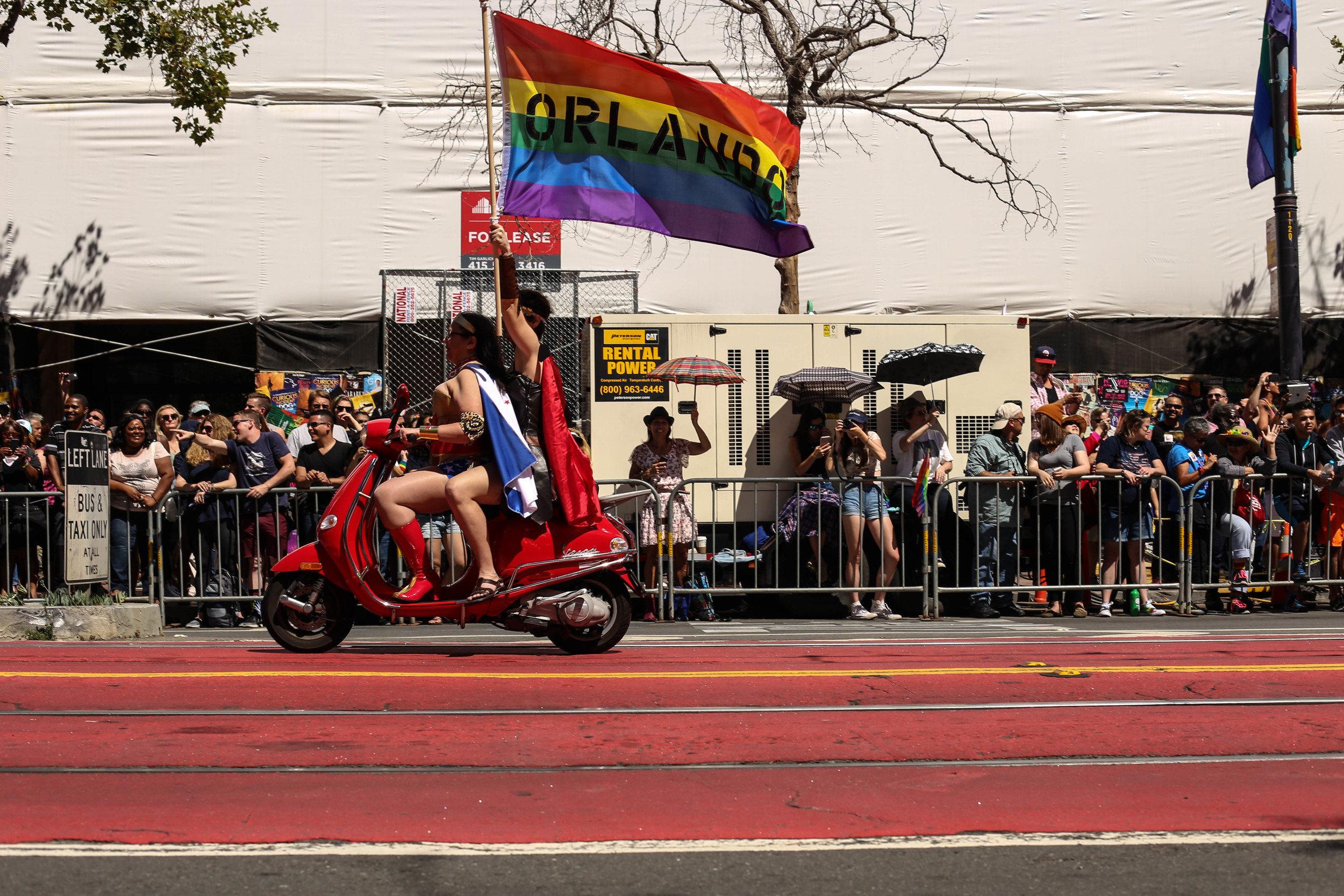 The 2016 San Fransisco Pride Parade kicked off with motorcycles and scooters as thousands gathered to celebrate Pride in San Francisco. Sunday, June 26, 2016.
