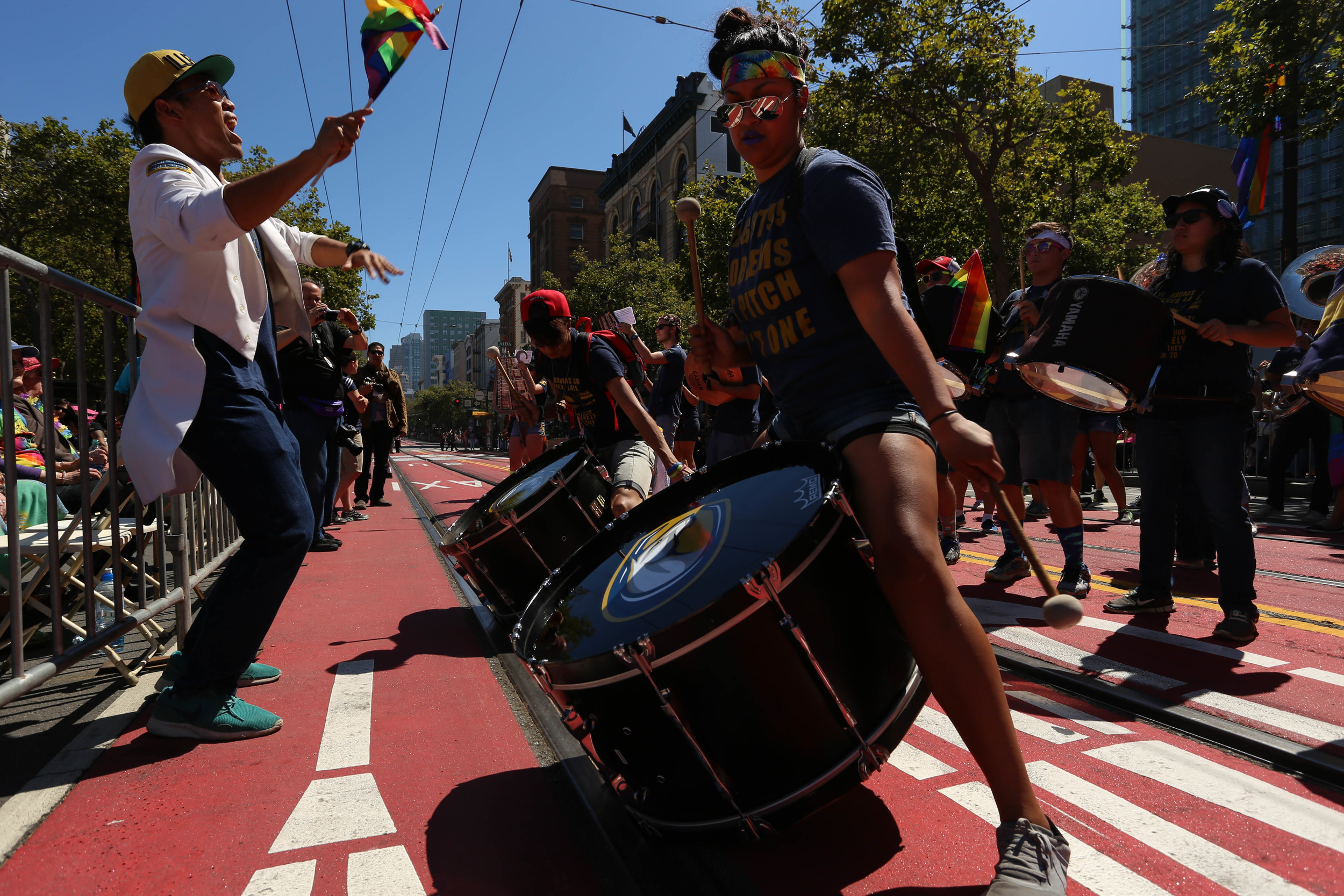 The California Aggie Marching Band stops to perform for the crowd as thousands gathered to celebrate Pride in San Francisco, Cali. Sunday, June 26, 2016.