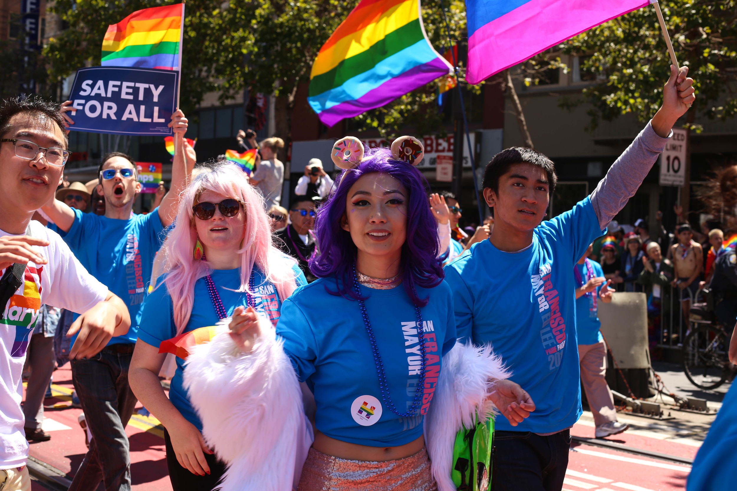 Mayor Ed Lee supporters cheer through the parade to celebrate Pride in San Francisco, Cali on Sunday, June 26, 2016.
