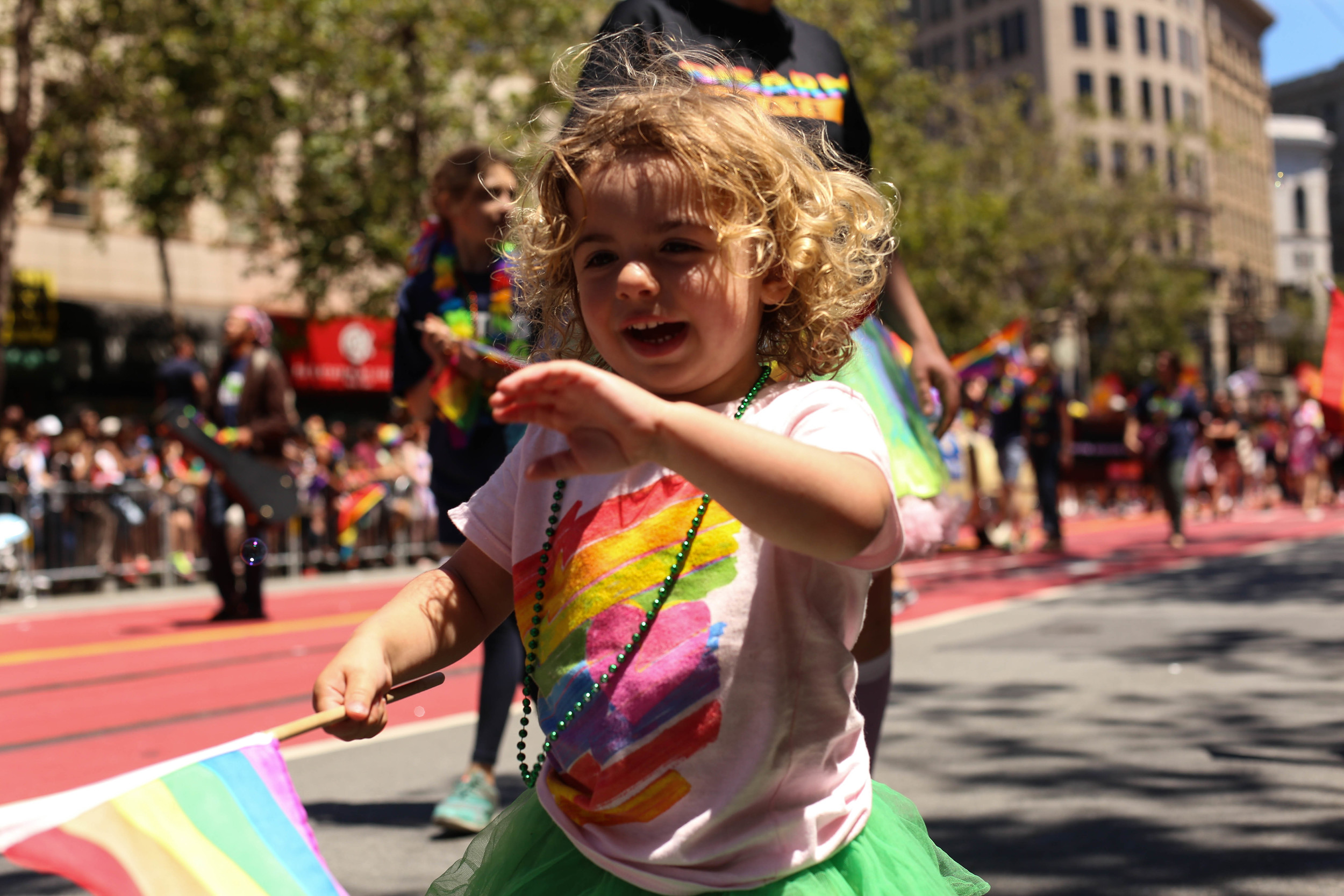 Leo Herring (2 years old, San Francisco, Cali) tries to catch bubbles during the San Francisco Pride Parade on Sunday, June 26, 2016.