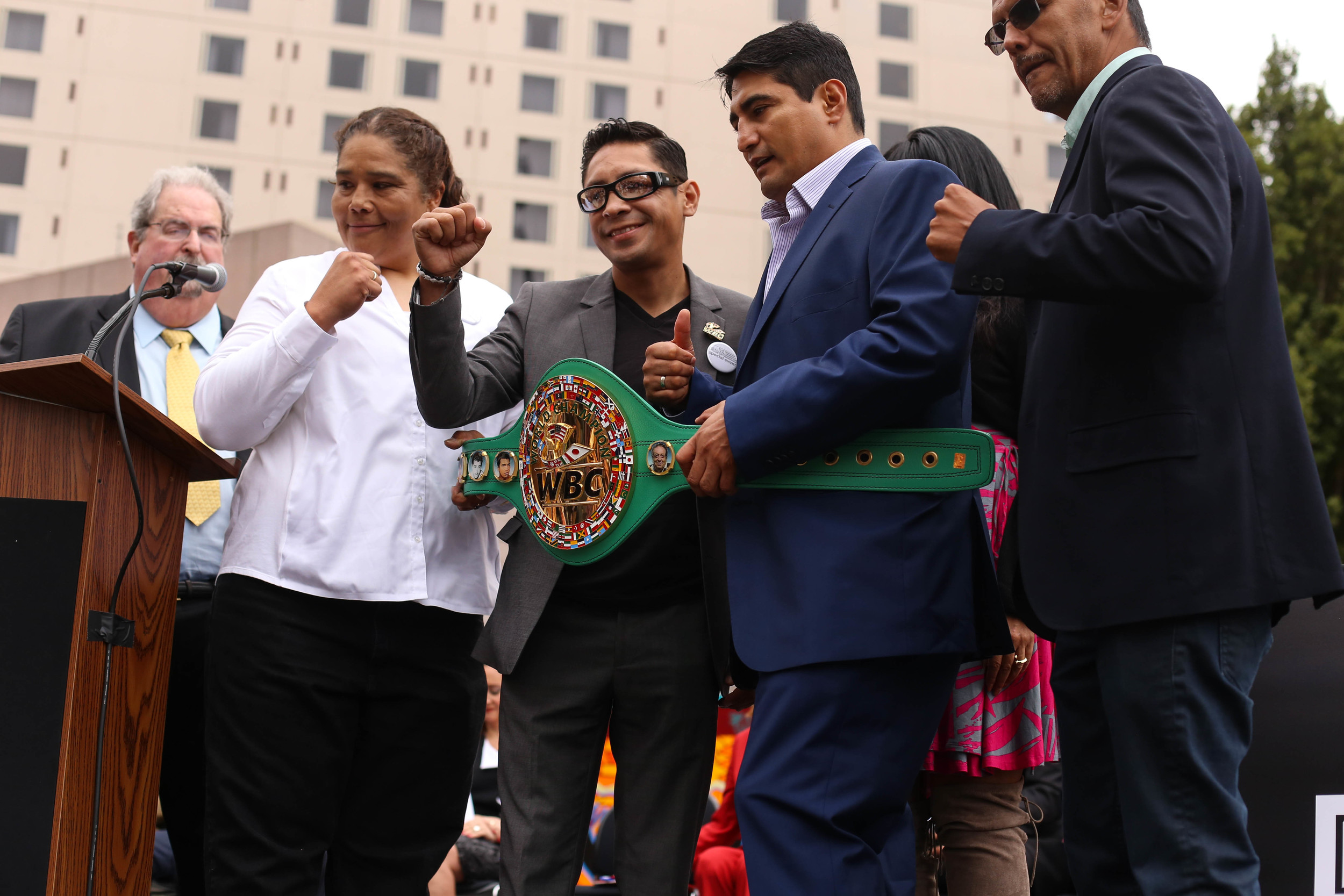 Boxers Martha Salazar, Israel Vazquez,Érik Morales, and Gabriel Ruelas gave away over a 100 pairs of autographed kid's boxing gloves for the dedication ceremony for The Mexican Museum in San Francisco, California. Tuesday, July 19, 2016. Jessica Webb