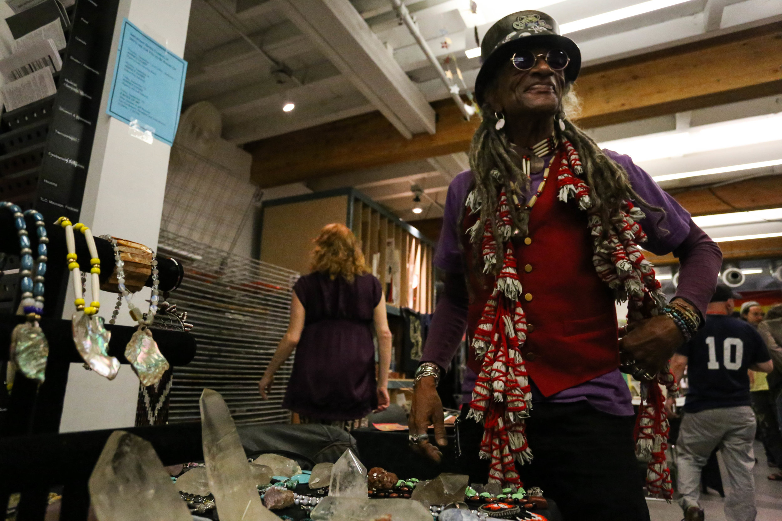 """John Beausage, a local San Francisco artist, at the Art Bazaar located in Hospitality House on Market street for 2 Blocks of Art. Hospitality House helps """"starving artist get a spot to promote their work."""" get a spot to promote their work.""""Friday, September 16, 2016.Mid-Market News"""