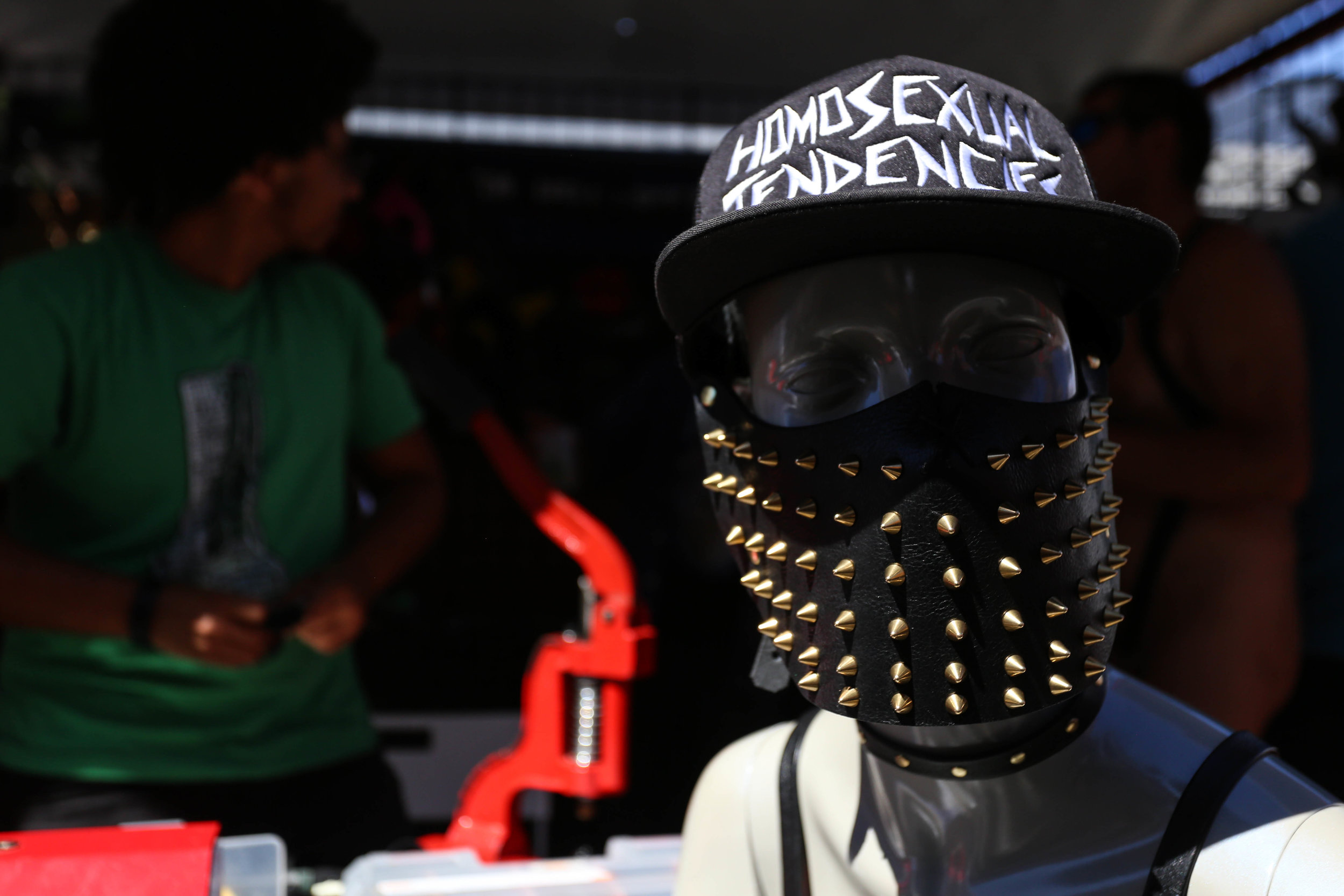 Muzzles and other items were being sold at the Folsom Street Fair where hundreds gathered for the festivities, San Francisco, California, Sunday, Sept. 25, 2016. (Jessica Webb)