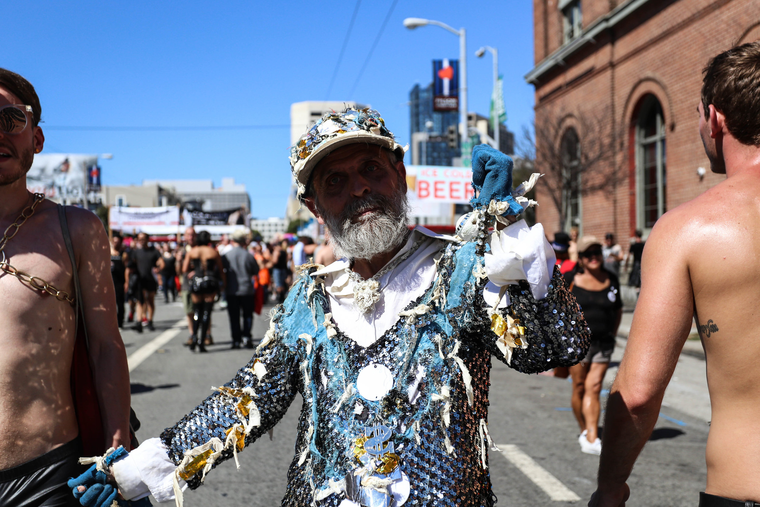 People came dressed in their very best for the Folsom Street Fair where hundreds gathered for the festivities, San Francisco, California, Sunday, Sept. 25, 2016. (Jessica Webb)