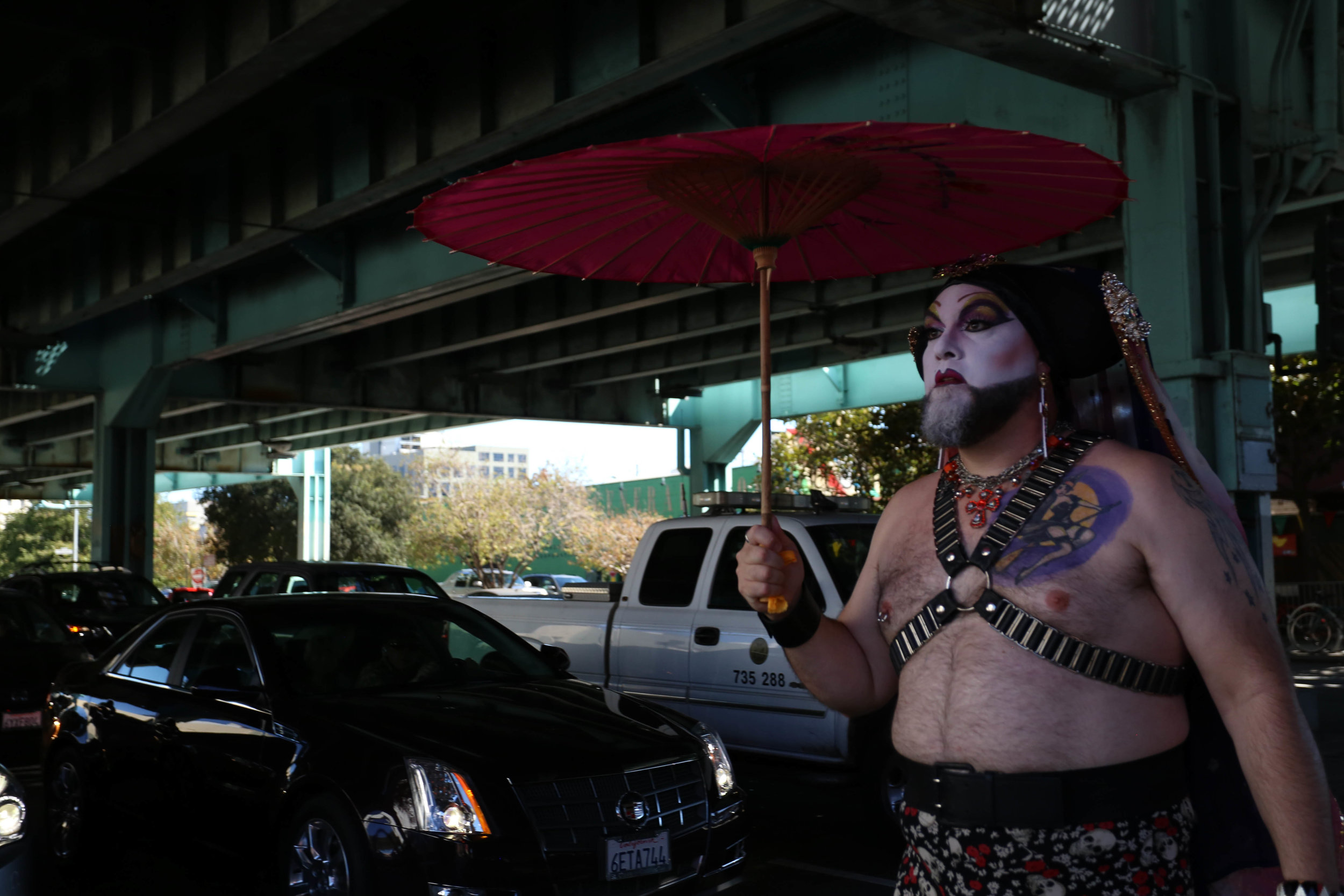 A Sister of Perpetual Indulgence makes her way to the Folsom Street Fair where hundreds gathered for the festivities, San Francisco, California, Sunday, Sept. 25, 2016. (Jessica Webb)