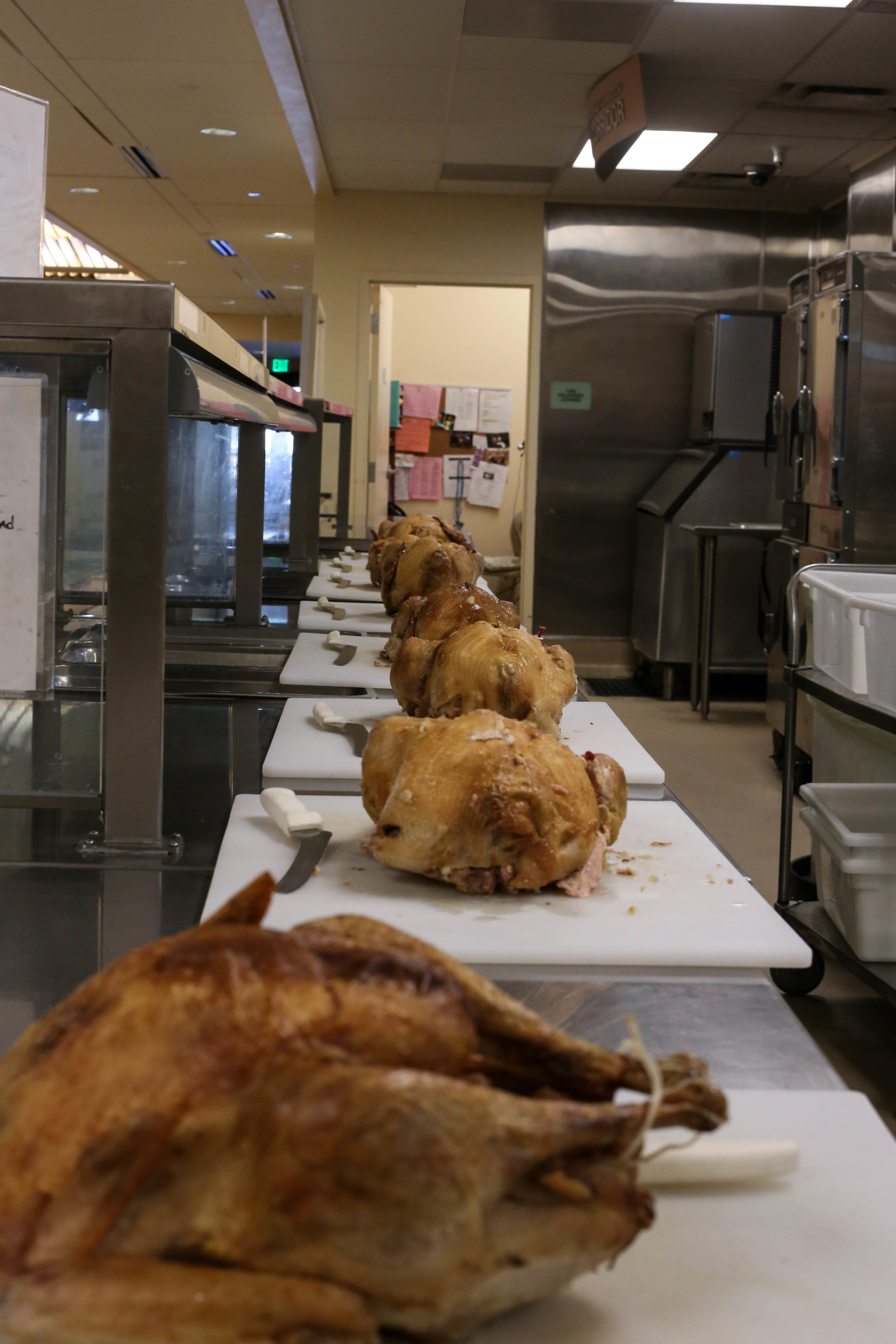 Turkeys wait to be carved at St. Anthony's for the Thanksgiving Day meals that will serve over 3,500 homeless in Mid-Market, San Francisco, California, Wednesday, November 23, 2016 (Jessica Webb)