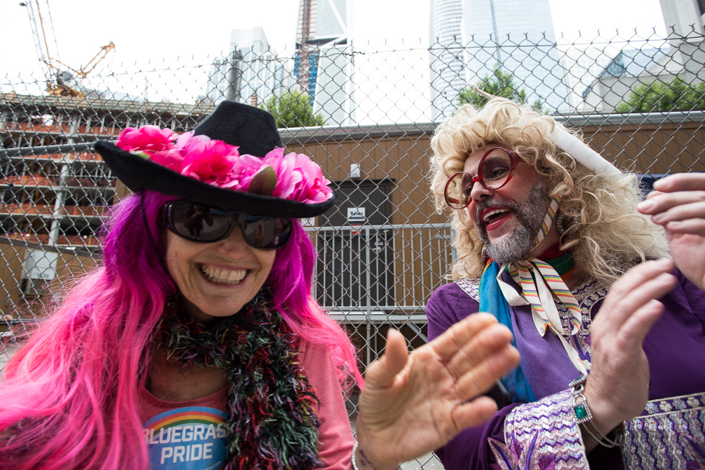 Martha Hawthorne and Marlene Twitty-Fargo ready their cheer for the 2017 San Francisco Pride Parade  on Sunday, June 25, 2017, San Francisco, California (Jessica Webb)
