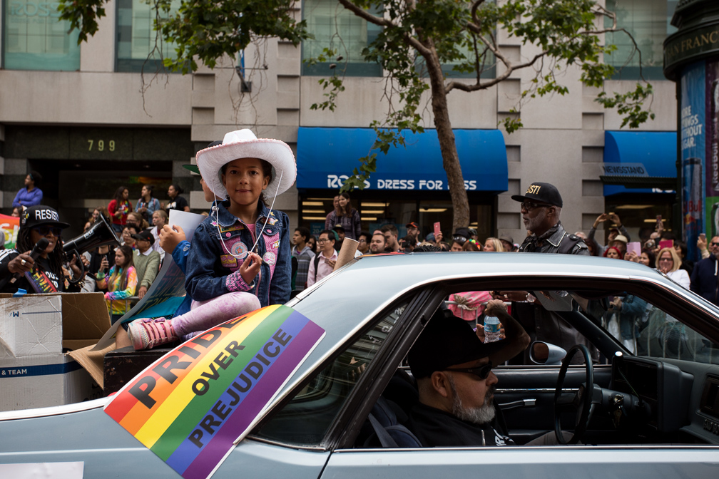 Hundreds of people gathered to celebrate and participate in the 2017 San Francisco Pride Parade on Sunday, June 25, 2017, San Francisco, California (Jessica Webb)