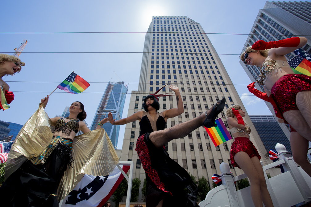 The gals from Speakeasy SF dance their best Charleston while they wait for their float to enter the 2017 San Francisco Pride Parade on Sunday, June 25, 2017, San Francisco, California (Jessica Webb)