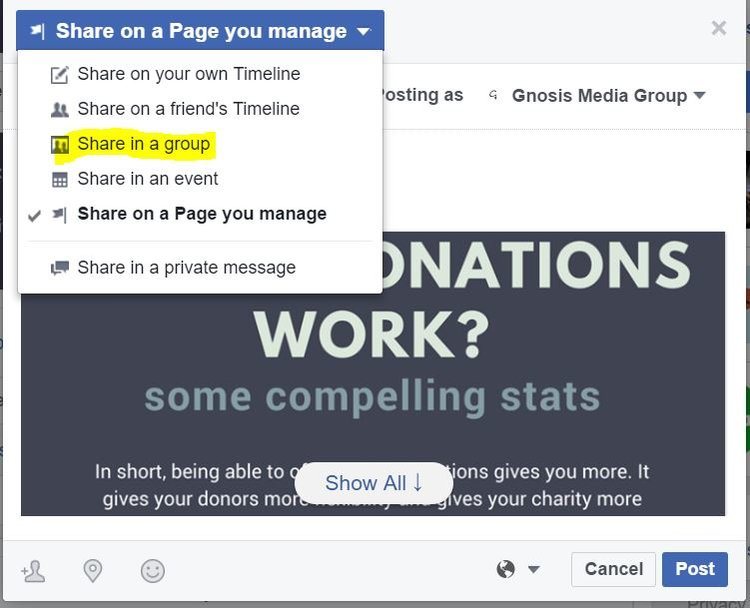 """To share a post from your Facebook page into a group, click the """"Share"""" link below the post. Then, select """"Share to a group"""" from the options in the dropdown menu."""