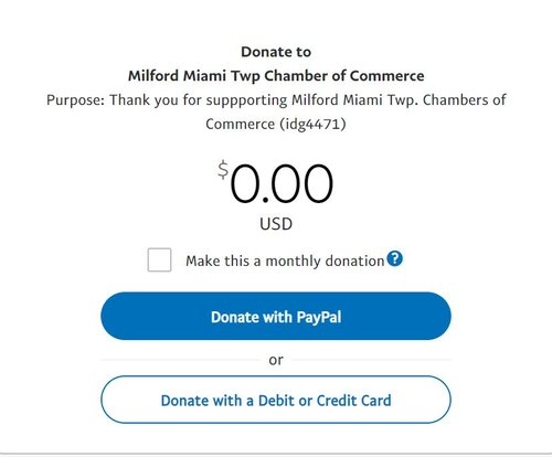 chamber of commerce donation via paypal