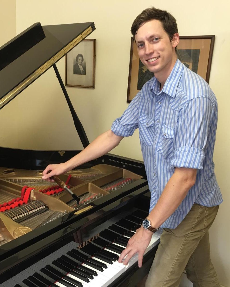 Isaac Wynn Tuning a Piano at Brooklyn Music School
