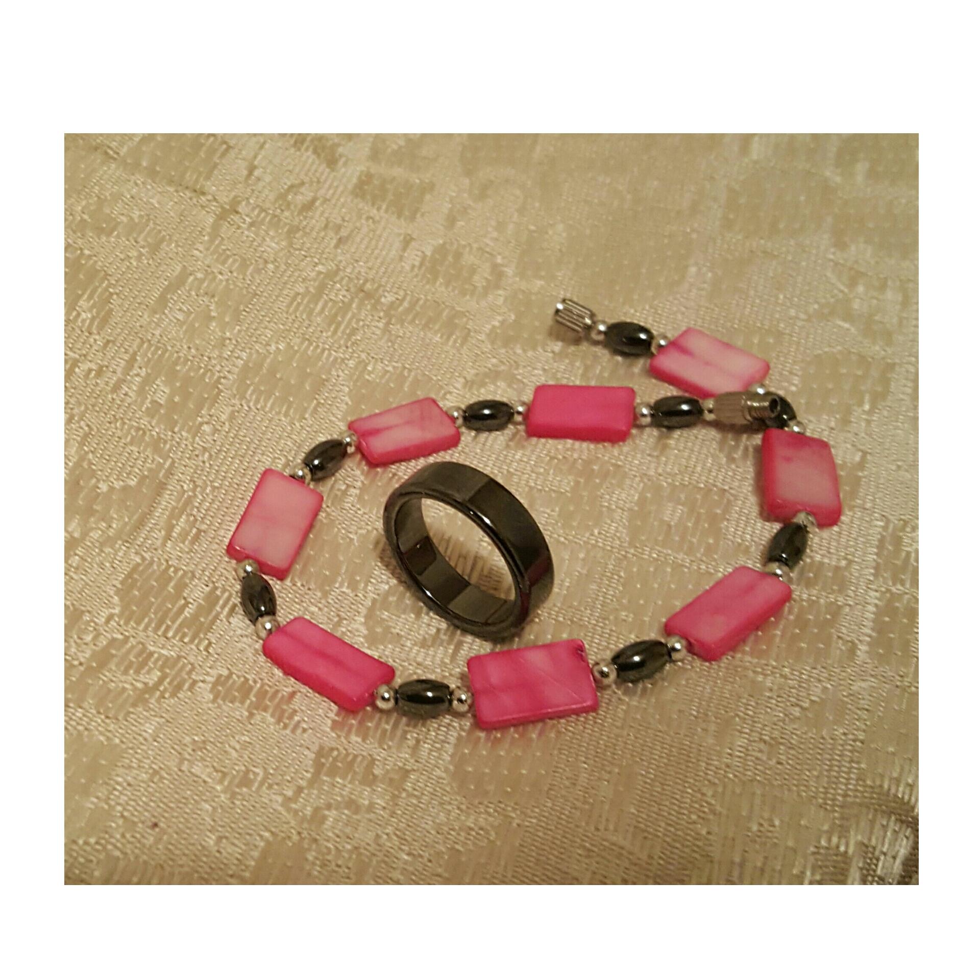 Polished Lava Stoned Ring & Bracelet - Isle of Dominica