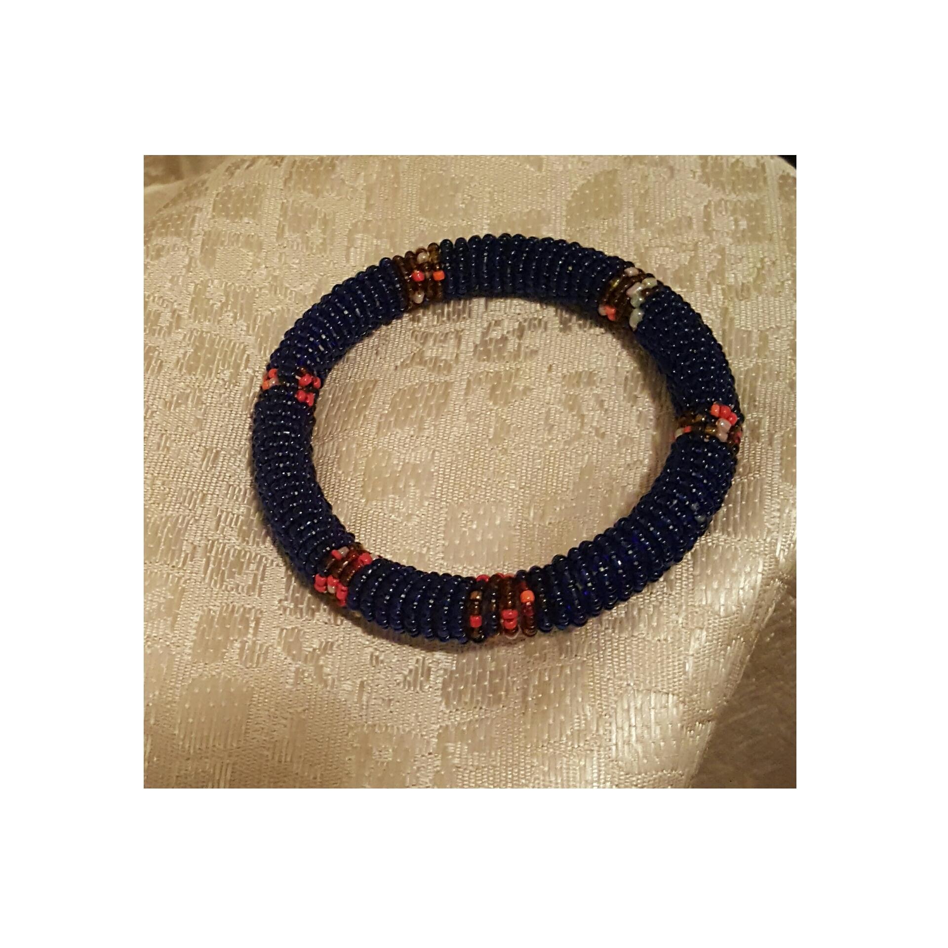 Navy Colored Beaded Bracelet - Kenya