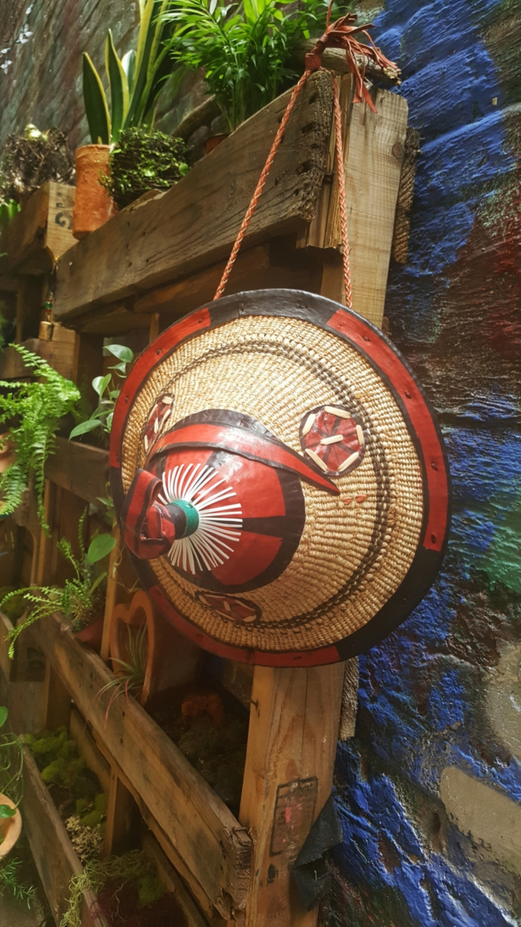 Traditional Straw & Leather Hat from Burkina Faso