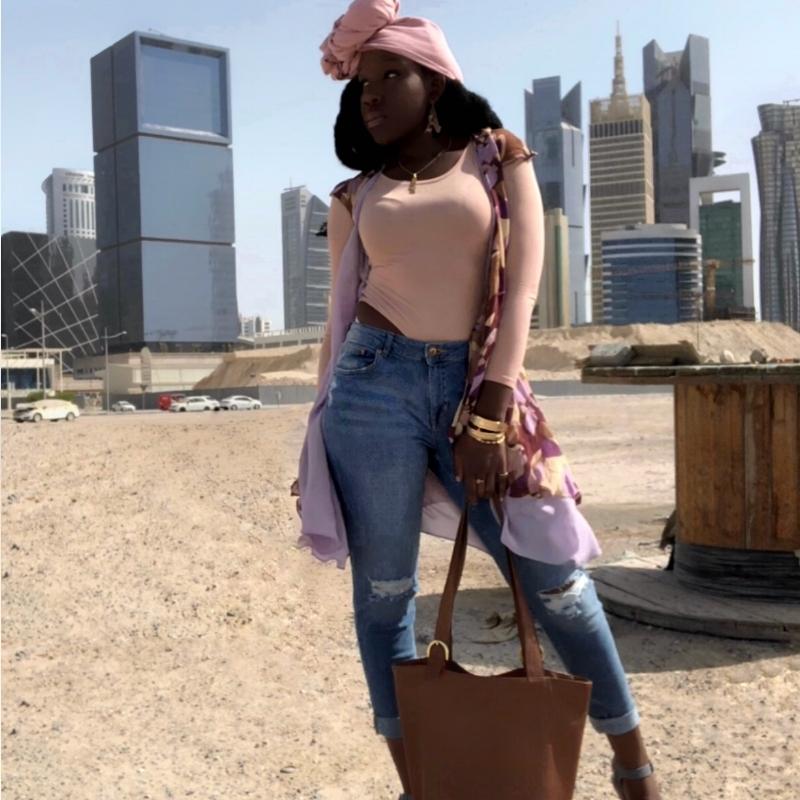 Queen Adwoa's Closet Qatar pink modest styling.JPG