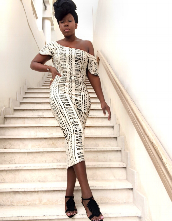 Queen Adwoa's Closet Black and white african mud cloth dress mali Dress .JPG