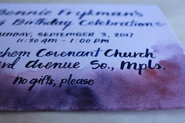 For my grandmother's 90th birthday, I hand lettered and watercolored each invitation 💜