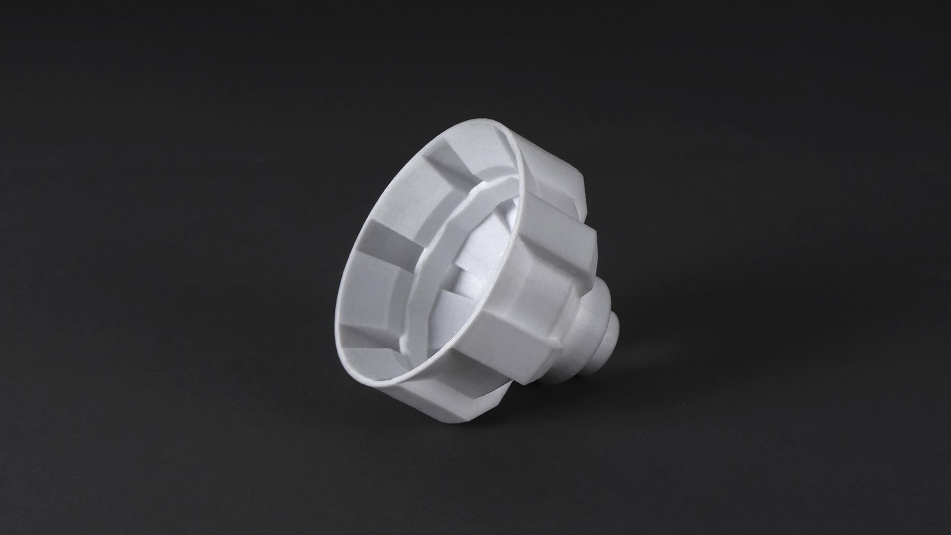 Oil filter 3D printed by Mankati E 180 3D printer & mPC-S filament - 3