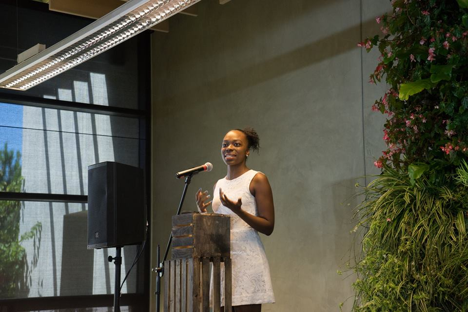 Jordan Howard accepting the Women in Green Youth Trailblazer Award at the 2015 Women in Green Forum